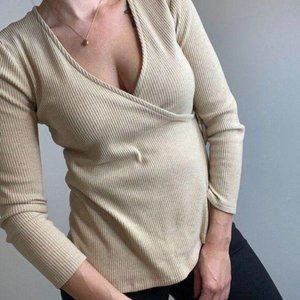 OLD NAVY Ribbed Wrap Side Tie Oatmeal Sweater